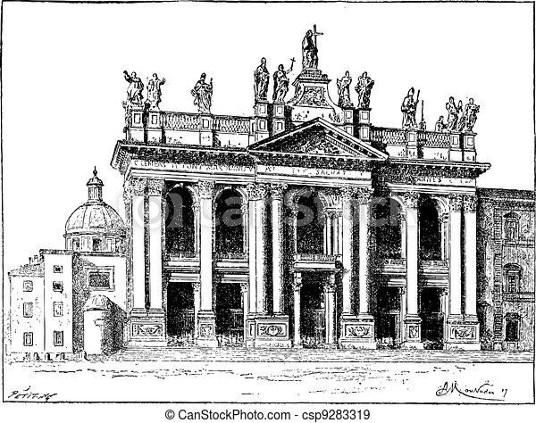 Basilica of Saint John Lateran in Vatican City, vintage engraving - csp9283319