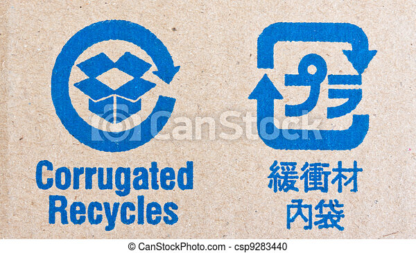 Image close-up of blue recycle fragile symbol - csp9283440
