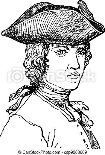 Tricorne or Tricorn, vintage engraving. - csp9283609