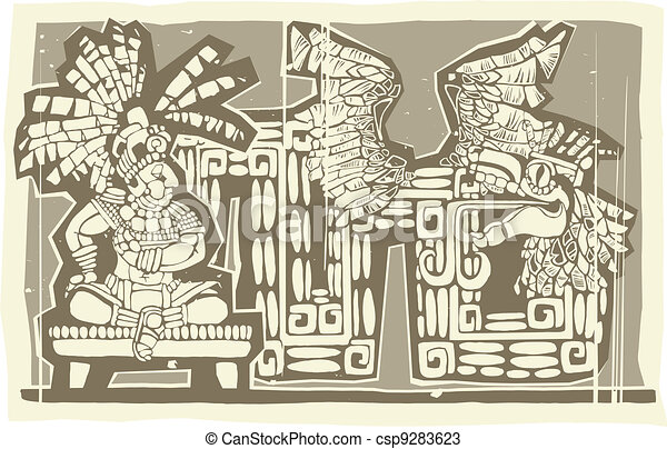 Woodblock Mayan King B - csp9283623