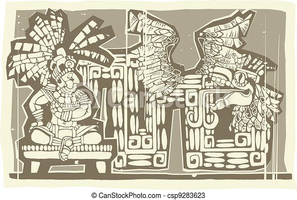 Woodblock Mayan King B - csp9283623