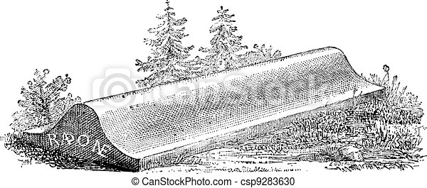 Tombstone, lid of a sarcophagus from Carlovingian era cemetery, vintage engraving. - csp9283630