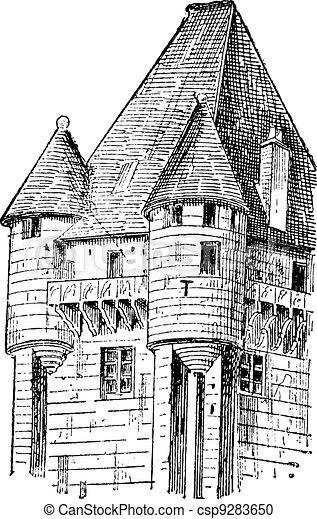 Turrets, vintage engraving. - csp9283650