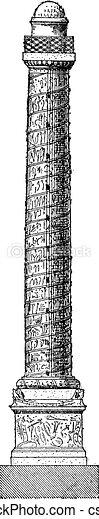 Trajan's column, vintage engraving. - csp9283680