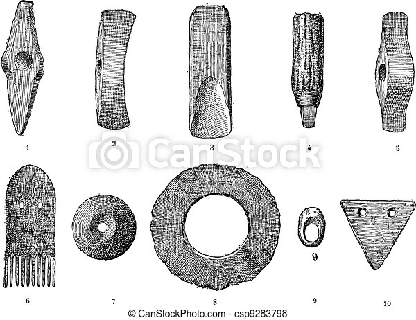 Age lake, various objects from lake stations, vintage engraved illustration. Dictionary of words and things - Larive and Fleury - 1895. - csp9283798