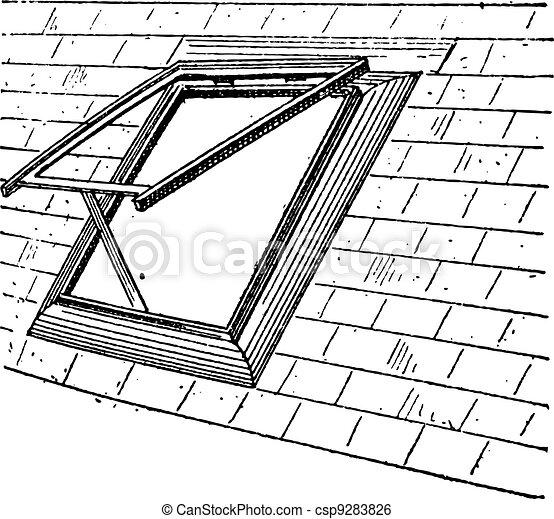 Dachfenster Weinlese Stich 9283826
