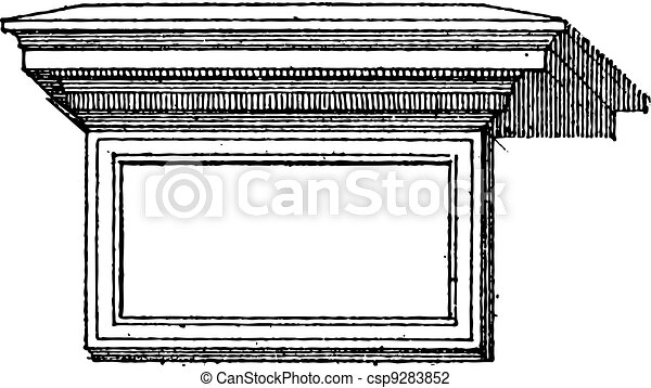 Table (architecture) vintage engraving - csp9283852