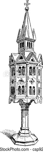 Church tabernacle  vintage engraving - csp9283855