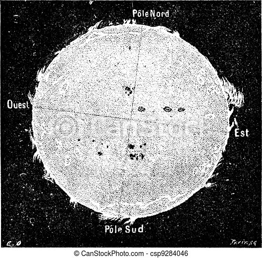 The Sun vintage engraving - csp9284046