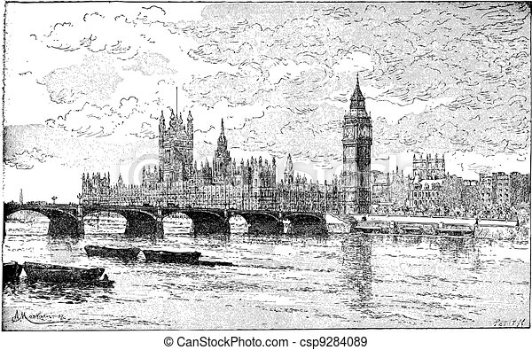 Westminster Bridge and the Houses of Parliament, London, England, vintage engraving. - csp9284089