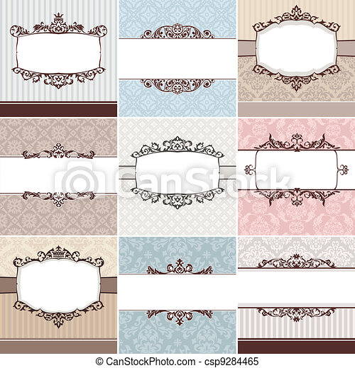 set of vintage floral frame - csp9284465