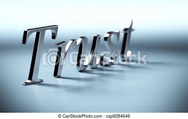 metal trust word 3d render with perspective and blur effet, blue background with shadow - csp9284649