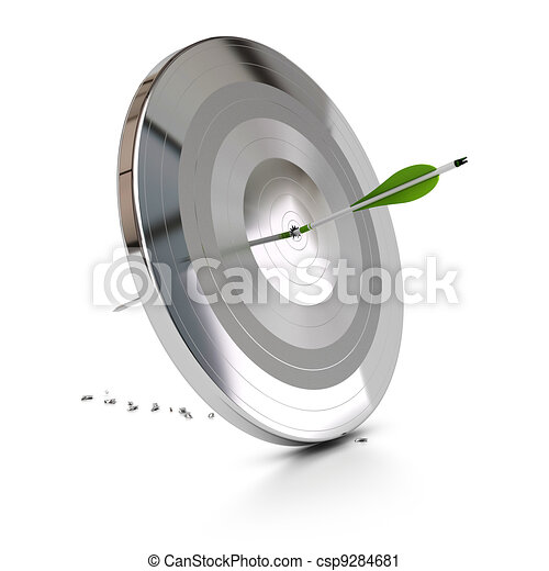 one green arrow pierce a metal target over white background, symbol of overcome difficulties - csp9284681