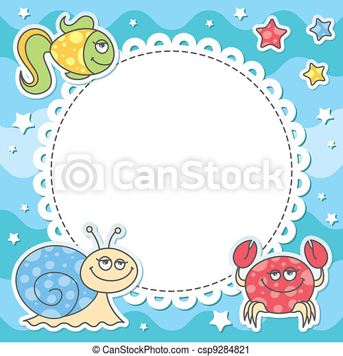 card with sea creatures - csp9284821