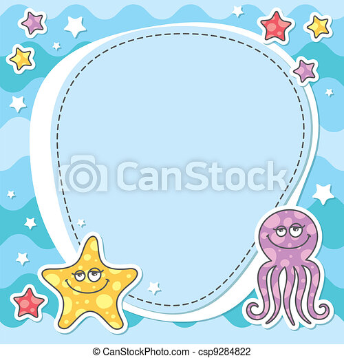 card with sea creatures - csp9284822