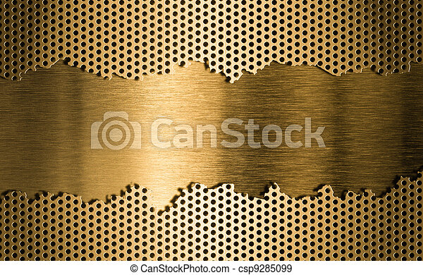 golden metal grate background - csp9285099