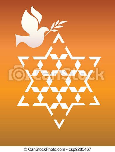 peace pigeon with david star on orange - csp9285467