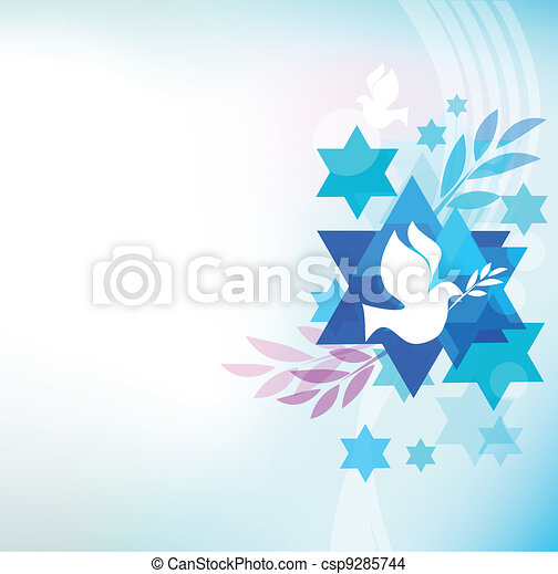template card with jewish symbols - csp9285744