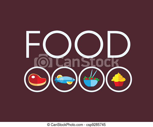 food icons with meat and vegetarian food - csp9285745
