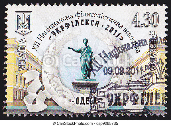 "UKRAINE - CIRCA 2011: A post stamp printed in Ukraine shows Monument to Duke de Richelieu with the inscription in Ukrainian ""Ukrfileksp 2011 – XII National Philatelic Exhibition – Odessa"", cir - csp9285785"