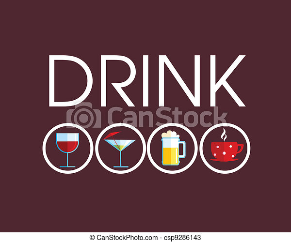 drink icons with different beverage - csp9286143
