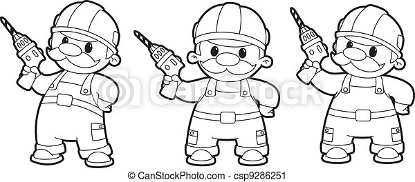 builder with a drill set outlined - csp9286251