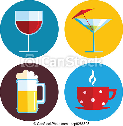 drink icons with different beverage - csp9286595