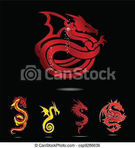 elegance asia dragon set isolated - csp9286636