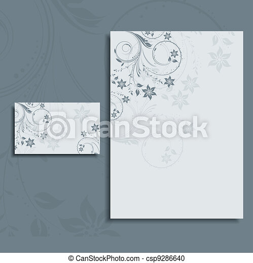Foral letterhead and business card layout - csp9286640