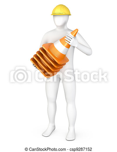 Worker with a stack of road cones - csp9287152