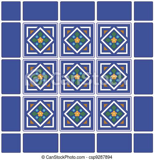 Vector seamless azulejos mexicano cer mico stock de - Azulejos con dibujos ...