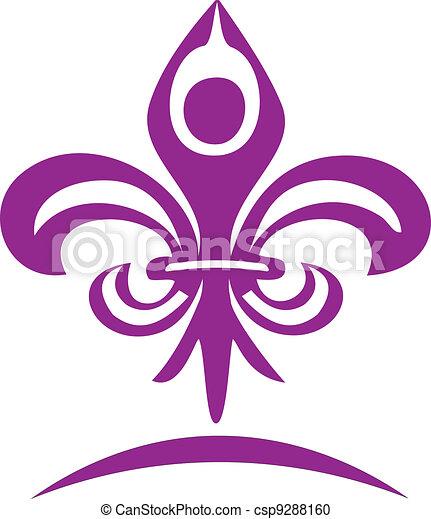Yoga figure and flour lis logo - csp9288160