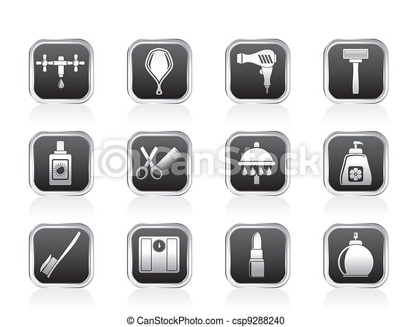 Personal care and cosmetics icons  - csp9288240
