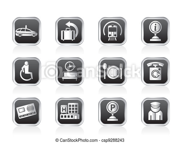 airport and travel icons - csp9288243