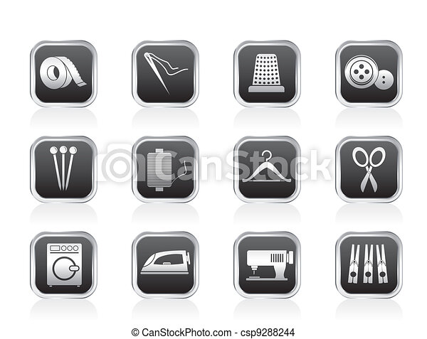 Textile objects and industry icons - csp9288244