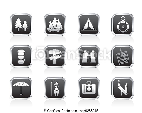Camping, travel and Tourism icons - csp9288245