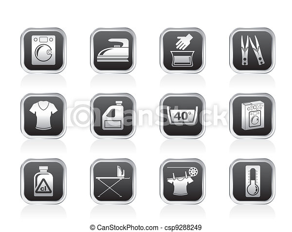 Washing machine and laundry icons - csp9288249