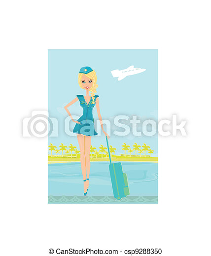 Beautiful stewardess with baggage - csp9288350