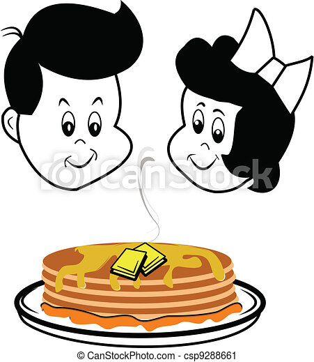 children gazing at pancakes  - csp9288661