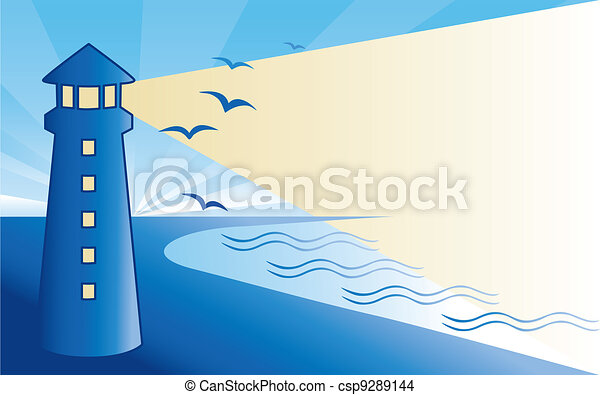Seaside Lighthouse at Dawn  - csp9289144