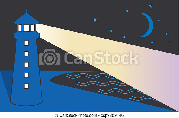 Seaside Lighthouse, Night - csp9289146