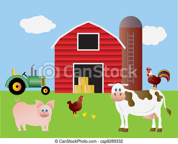 Farm with Red Barn and Animals - csp9289332