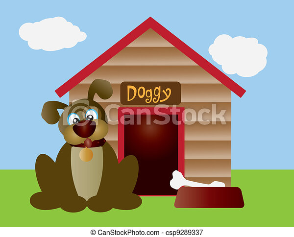 Cute Puppy Dog with Dog House - csp9289337