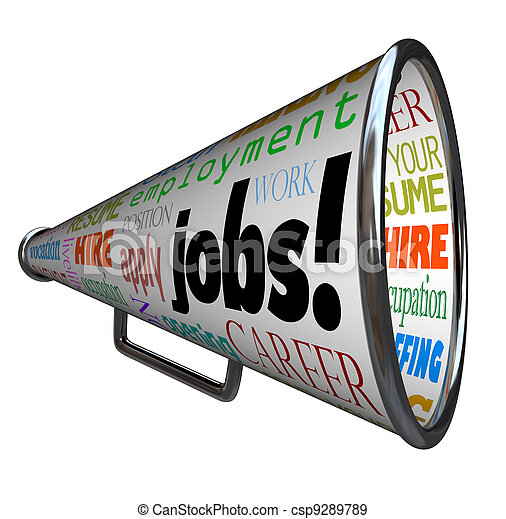 Jobs Bullhorn Megaphone Career Work Employment - csp9289789