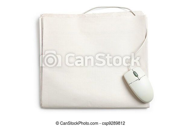 Computer mouse and Newspaper - csp9289812