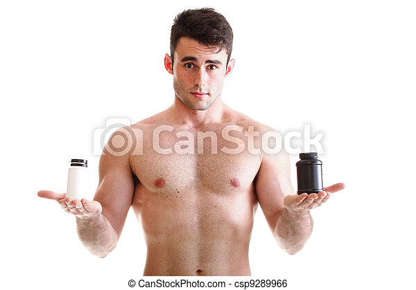 Athletic sexy male body builder holding a boxes with supplements on his biceps - csp9289966