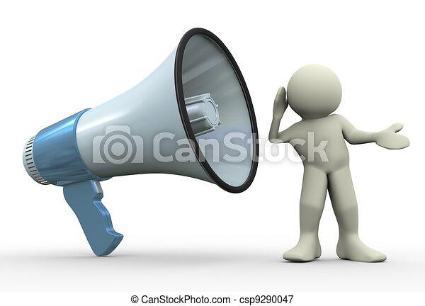 3d man listening - csp9290047