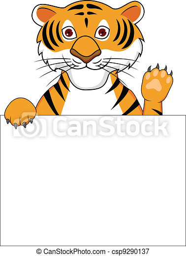 Tiger cartoon with blank sign  - csp9290137