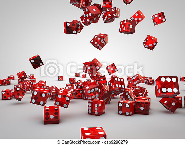 red casino dices falling down on floor - csp9290279