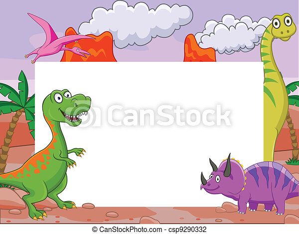 Dinosaur and blank sign - csp9290332